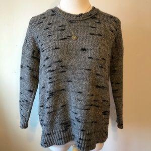 MADEWELL Gray & Black Crewneck Boho Sweater Med